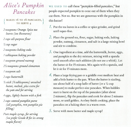 Recipe for Alice's Pumpkin Pancakes - Courtesy of The Narrative Group