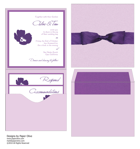 modern and minimalist purple invitation concept by paper olive