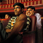Cinema goers watch Bollywood movie