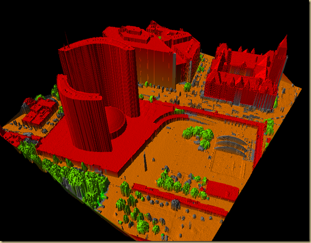 Toronto point cloud, classified using LIDAR Analyst and viewed in LP Viewer using an hill-shaded TIN