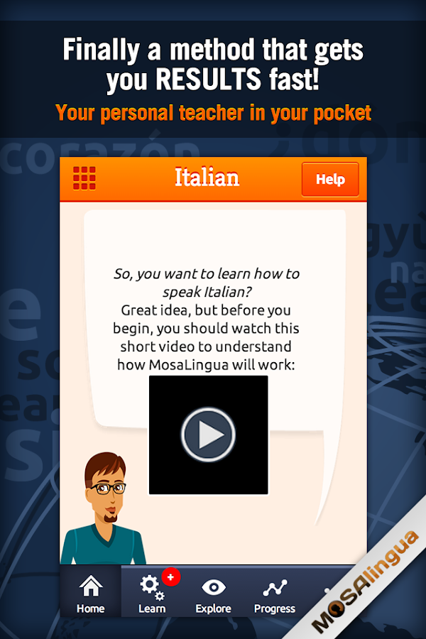 Learn Italian with MosaLingua - screenshot