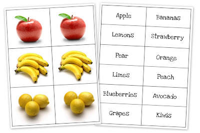 fruit and vegetable matching cards preschool printables