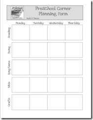Preschool Planning Form 2010