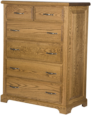 Hudson Vertical Dresser in Medium Oak, Custom Hardware