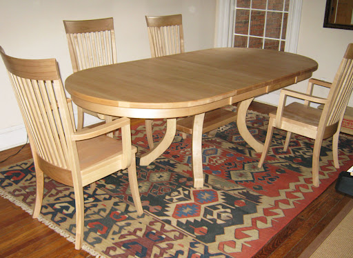 "60"" x 42"" Table with 12"" Leaf, Lancaster Dining Chairs, in Natural Hard Maple"