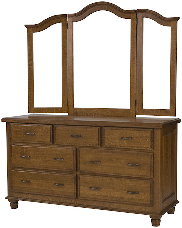 Matching Furniture Piece: Lotus Horizontal Dresser with Tri-Fold Mirror, in Rustic Quarter Sawn Oak