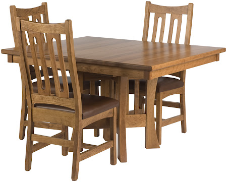 "48"" x 48"" Craftsman Table and Runic Chairs in Rustic Oak"