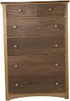 Shaker Dresser, Walnut & Cherry Hardwood, Natural Finish
