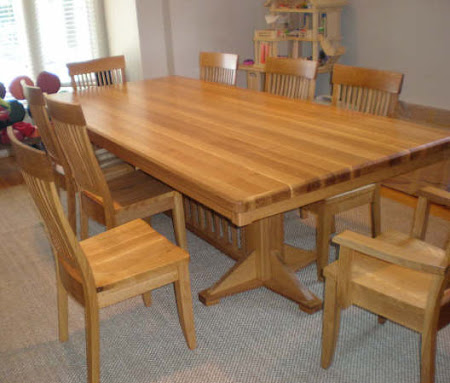 "80"" x 46"" Woodland Table and Harvest Chairs in Rustic Oak"
