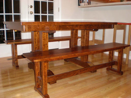 Trestle Table and Trestle Benches in Sunset Hickory