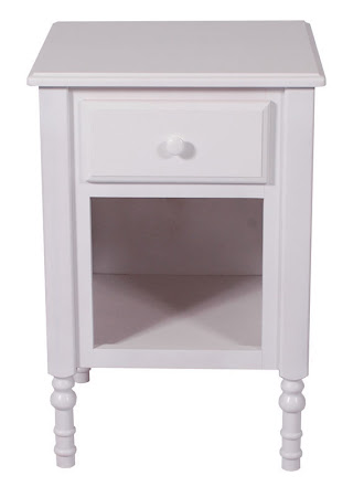 Farmhouse Nightstand with Shelf, Oak Hardwood, White Paint
