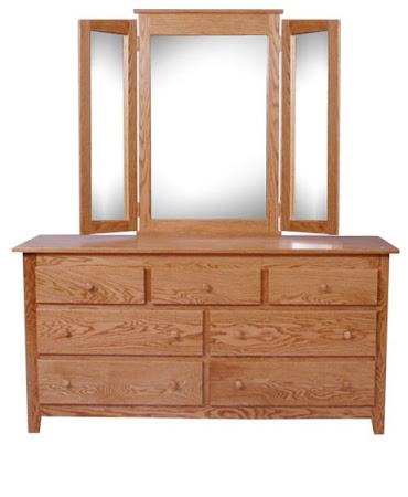 Shaker Horizontal Dresser with Tri-Fold Mirror, in Medium Oak