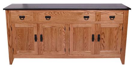 "36"" high x 80"" wide x 20"" deep Cottonwood Kitchen Buffet in Medium & Midnight Oak"