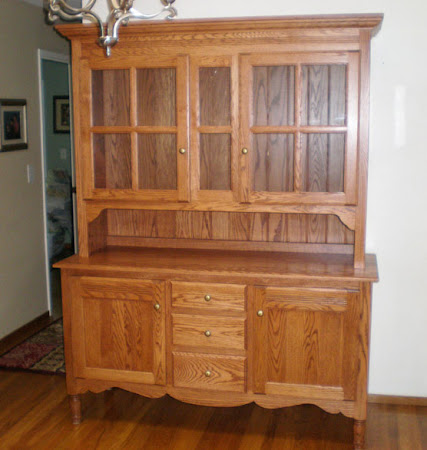 Modern Farmhouse China Cabinet, Oak Hardwood, Medium Finish
