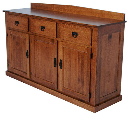 "36"" high x 68"" wide x 20"" deep Mission Kitchen Buffet in Medium Quarter Sawn Oak"