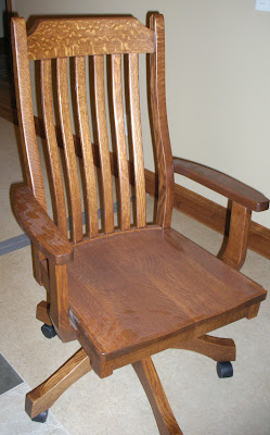 Mission Office Chair Oak Hardwood Rustic Finish