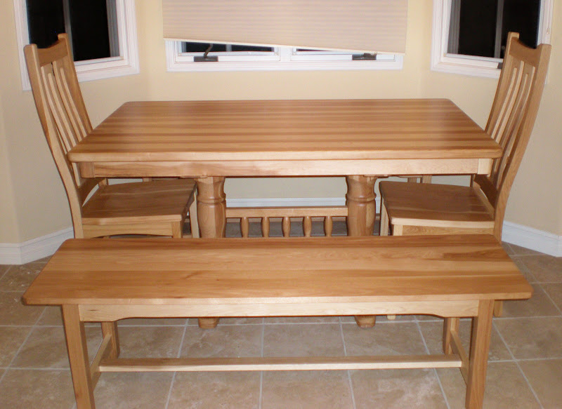 A 60 x 36 Hickory hardwood Riverside Kitchen Table and Matching Benches with Runic Dining Chairs with a Natural Finish & Handcrafted Kitchen Nook Tables From Erik Organic