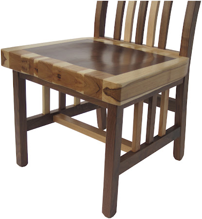 Custom Mixed Wood Detail on Raised Mission Chair