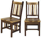 Western Dining Chair, Natural Hickory and Walnut