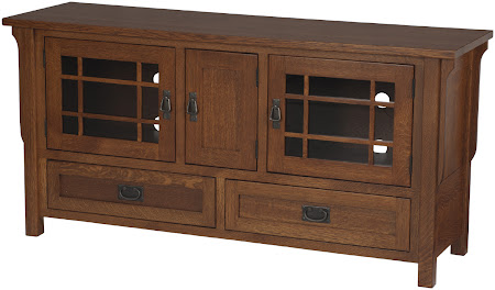 """60"""" wide x 30"""" high Mission Entertainment Center in Natural Cherry"""