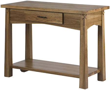 Shaker Sofa Table in Sunset Hickory, Shown with Bottom Shelf and Drawer
