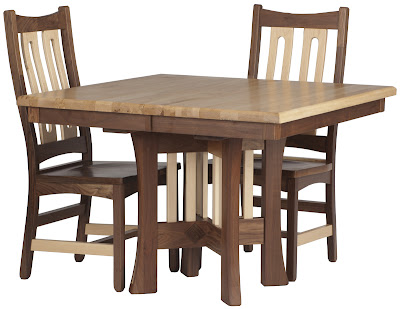 Craftsmen Kitchen Table in Natural Hard Maple and Walnut