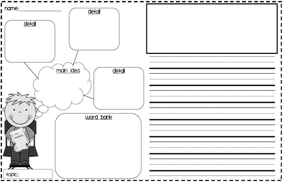 Graphic organizer for writing a narrative paragraph for first grade