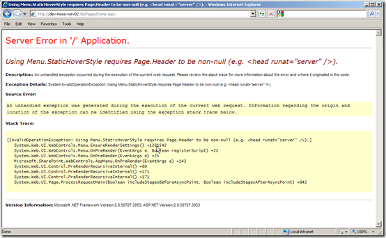 superedge net: How to display Asp Net error messages instead of the