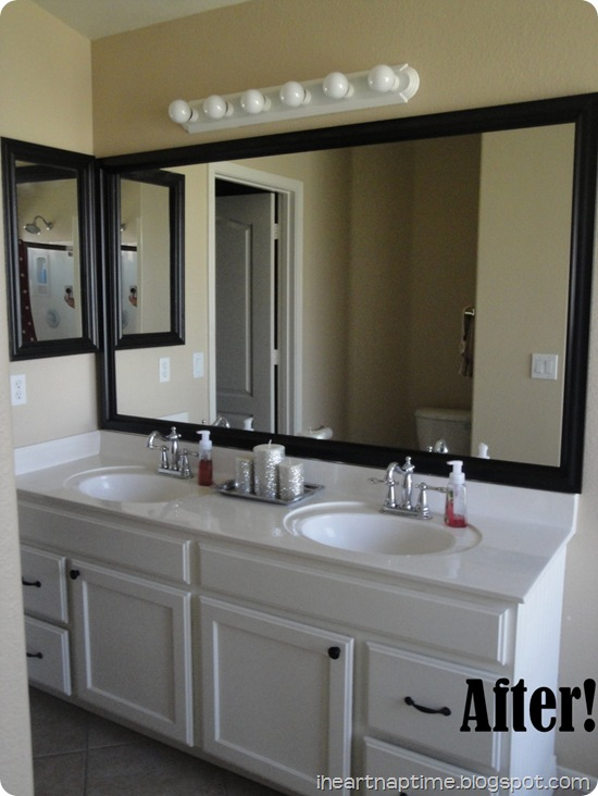 painted white cabinets in bathroom