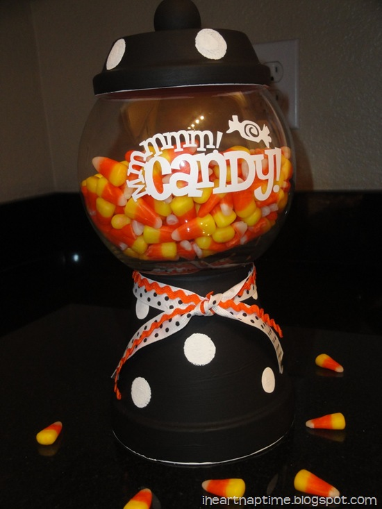 halloween candy jar with candy corn
