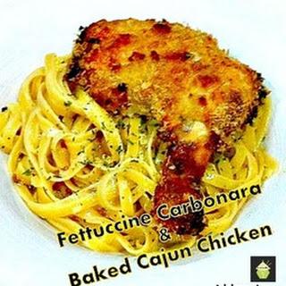 Fettuccine Carbonara & Cajun Chicken