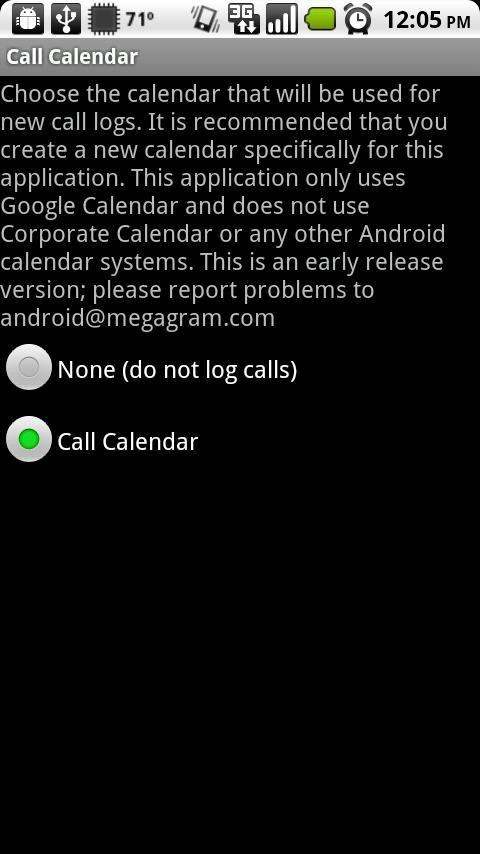 Call Log onto Calendar- screenshot