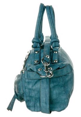 4a1a878988c9d ... petrol blue handbag REGAN E   W by Guess. Shoulder strap. Studs Metal  rings in silver look. Lining  100% cotton. Height  19.5 cm. Length  35 cm