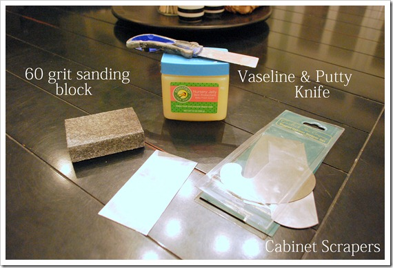 {Distressing With Vaseline And Cabinet Scrapers}