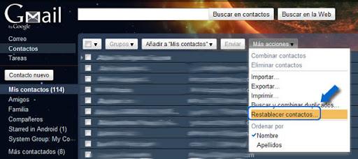 Restaura contactos eliminados de Gmail