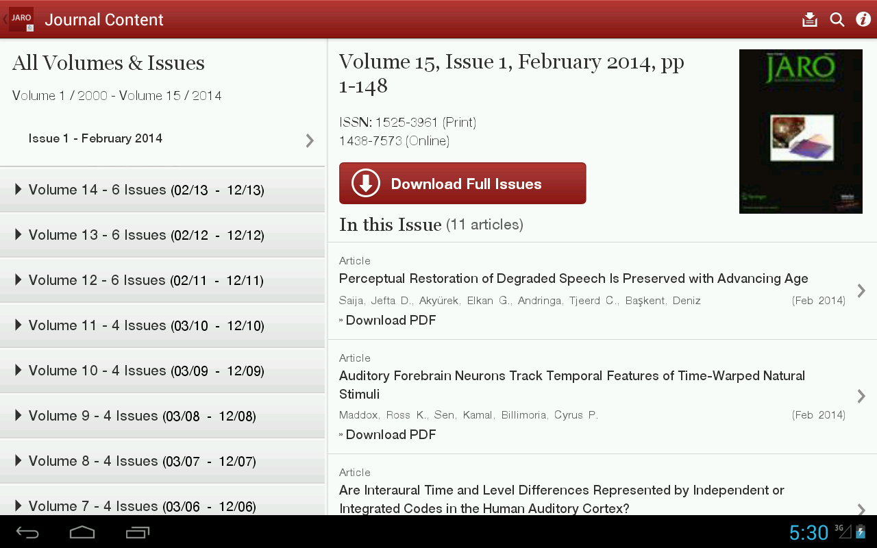 J Assn Research Otolaryngology - screenshot