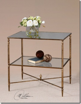 Glass and Brass End Table