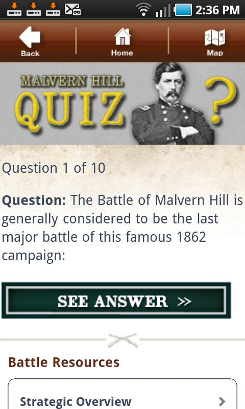 Malvern Hill Battle App- screenshot