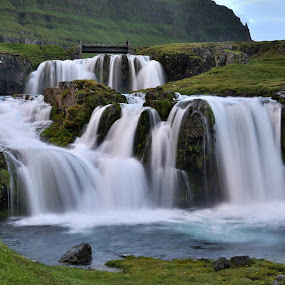 Silky waterfall by Silva Predalič - Landscapes Waterscapes ( water, kirkjufellsfoss, iceland, midnight, waterfall, , relax, tranquil, relaxing, tranquility )