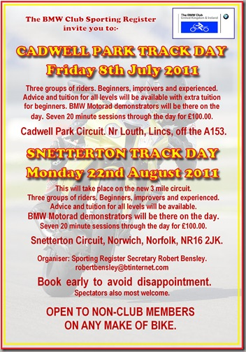 Cadwell Snett 2 track days poster artwork 2011