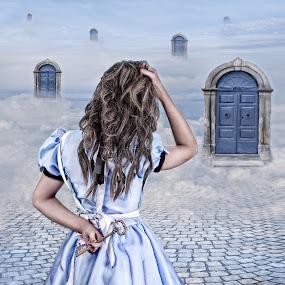 When One Door opens by Joan Blease - Digital Art People ( fantasy, doors, alice in wonderland, alice )