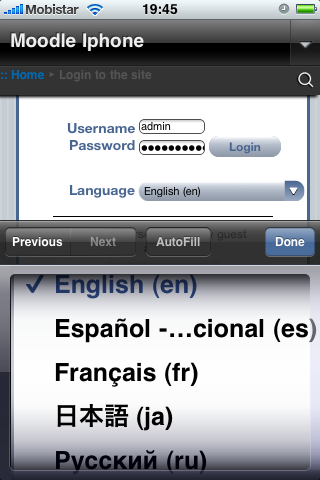 Moodle in English: Moodle Mobile for iPhone