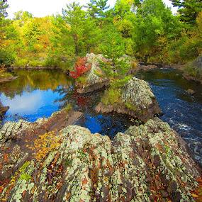 Deep Blue by LeeAnn Heikkila - Landscapes Waterscapes ( autumn, river, fall color )