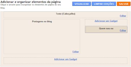 """Área """"Design"""" do Blogger, sem a barra de navegação"""