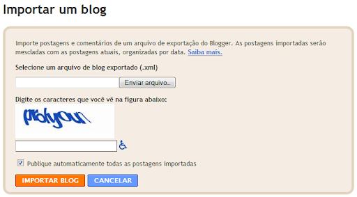 Importar um blog