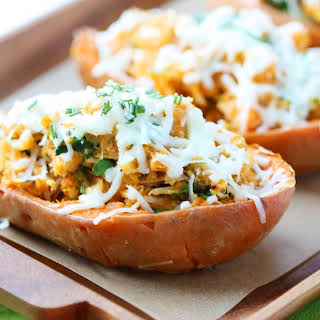 Italian Chicken and Spinach Stuffed Sweet Potatoes.