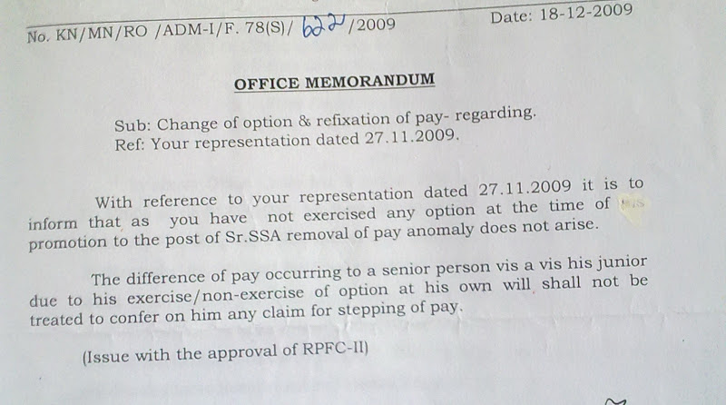 CLARIFICATION ON PAY FIXATION AND ANOMALY THEREBY