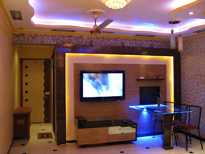 tv showcase in living room