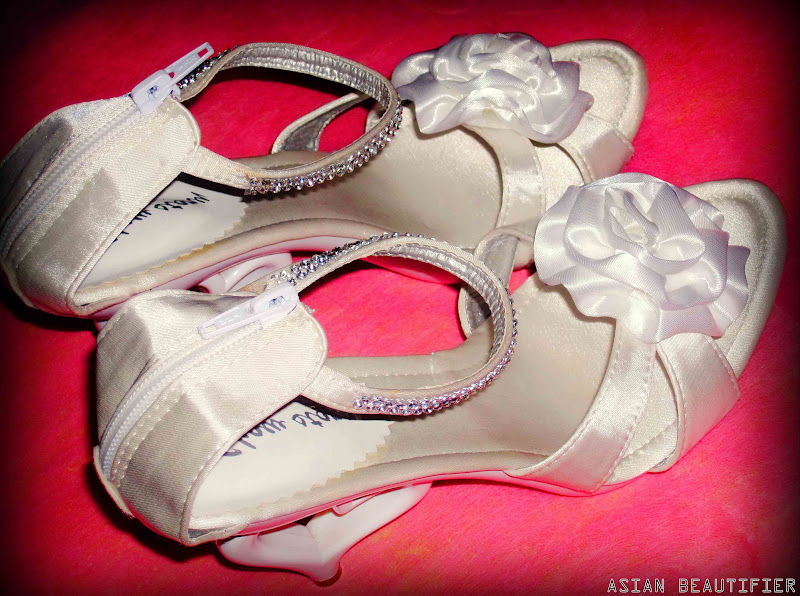 Satin Diamonte Heart High Heel Shoes