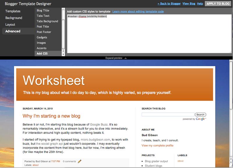 Worksheet: Hiding the nav bar in blogger should be easier